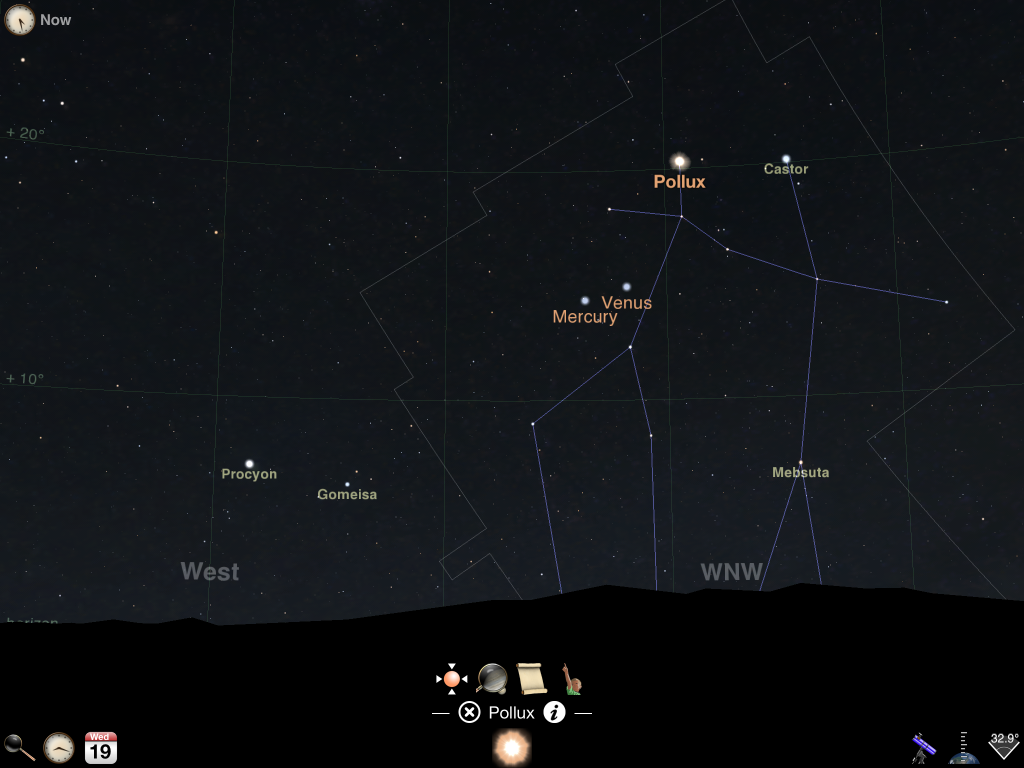 Image shows the close pass of Venus and Mercury