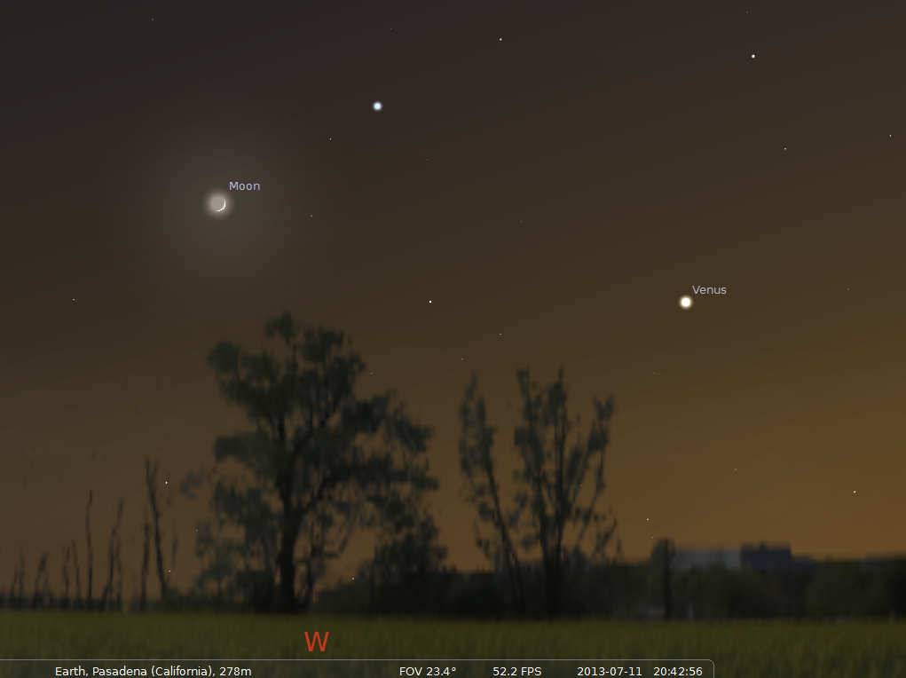 The Crescent Moon and Venus will be nicely visible just after sunset on Jul 11 2013